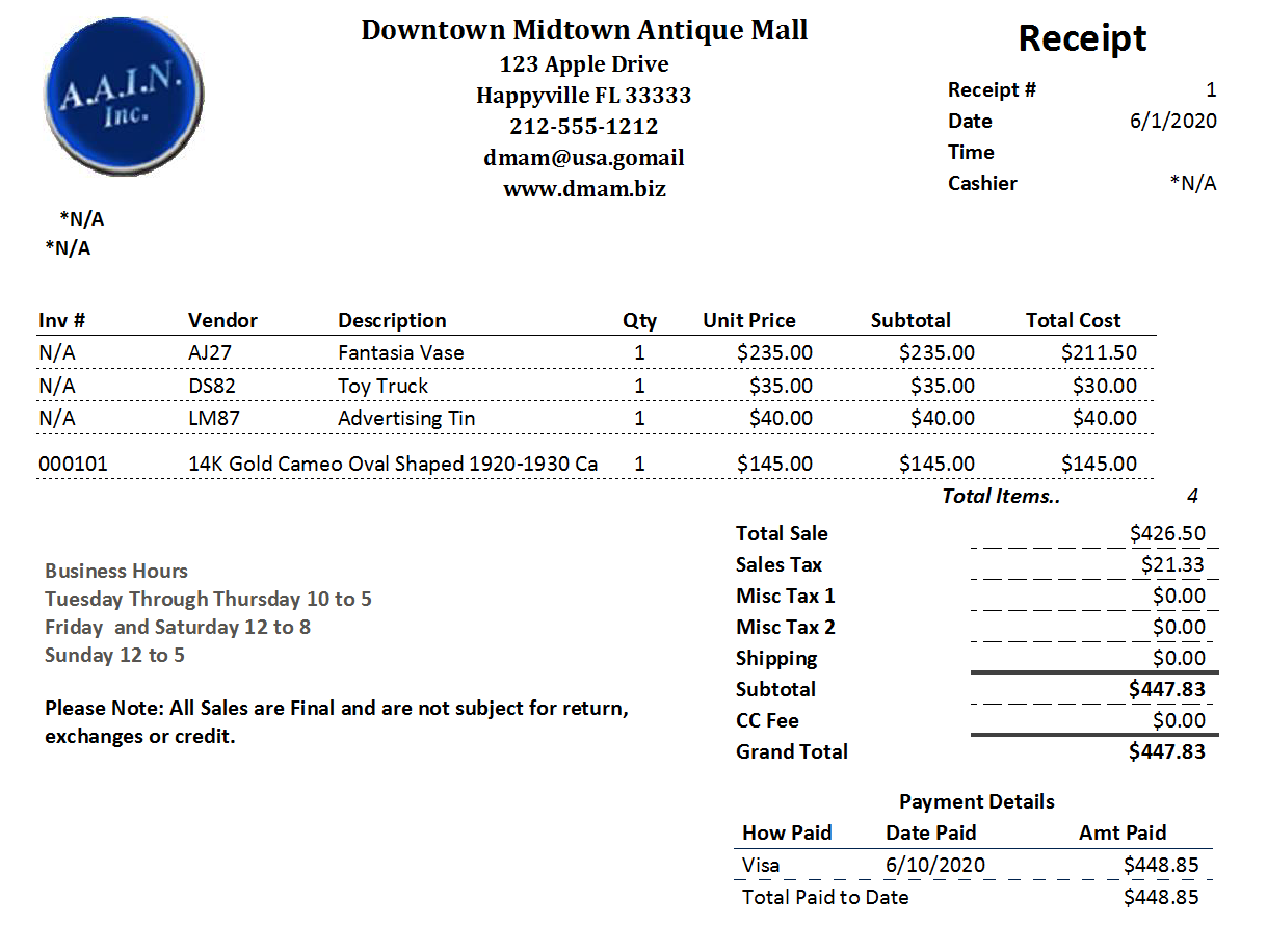 Antique Mall Point of Sale Software Sales Receipt