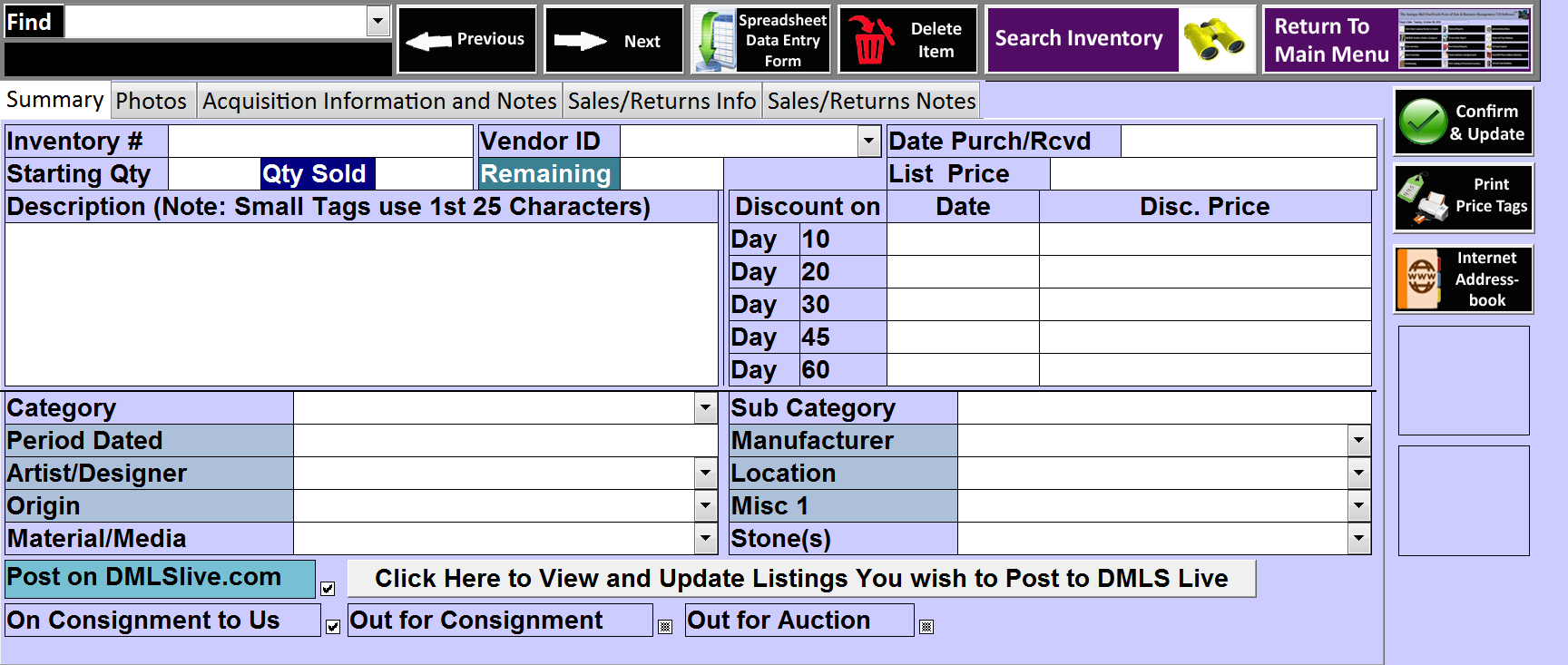 Antique Mall Point Of Sale Software Search Menu And Form