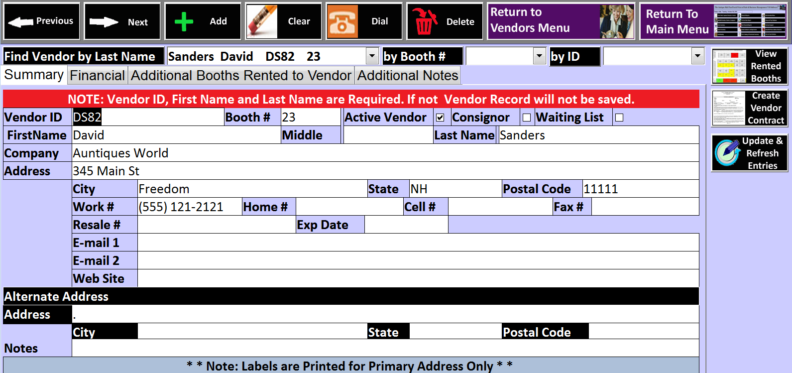 Antique Mall Point Of Sale Software Vendor Data Entry Form