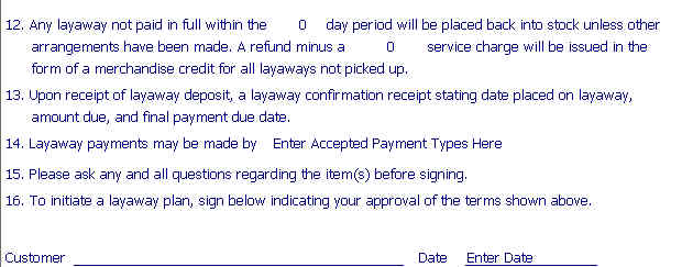 Layaway Agreement Template Layaway Contract Template Free - Free car invoice template online layaway stores