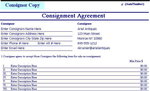 Antique Art And Collectible Inventory And POS Software  Free Consignment Agreement