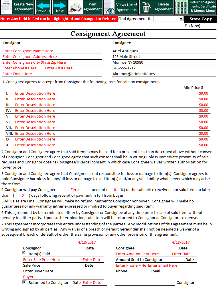 Art Dealers Inventory And Point Of Sale Software Consignment Agreement