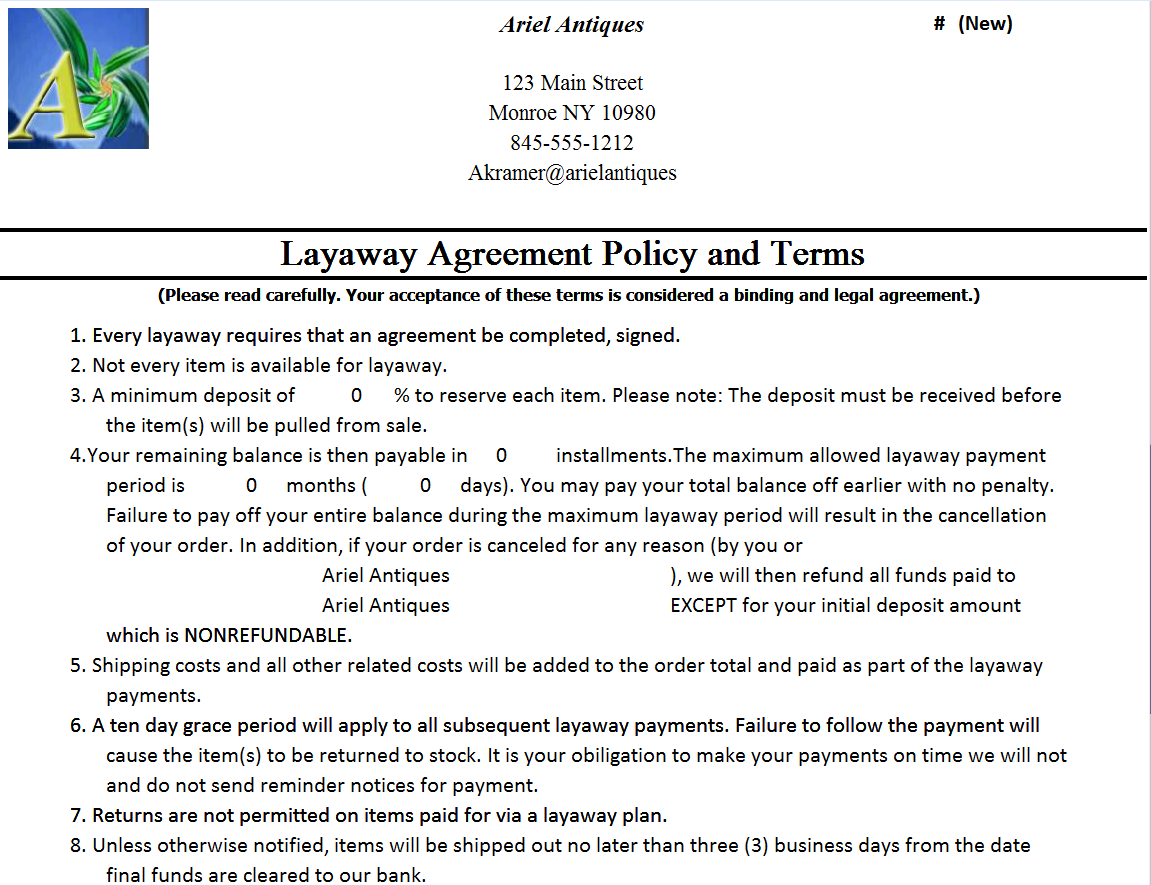 Art Dealers Inventory And Business Management Software Layaway Agreement