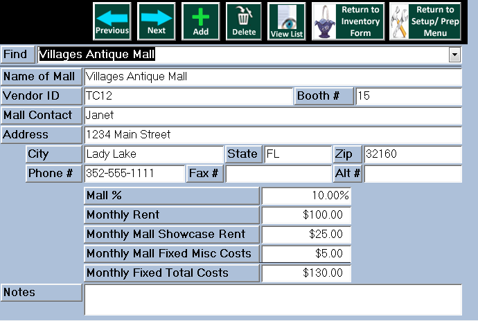 Mall Data Entry Form